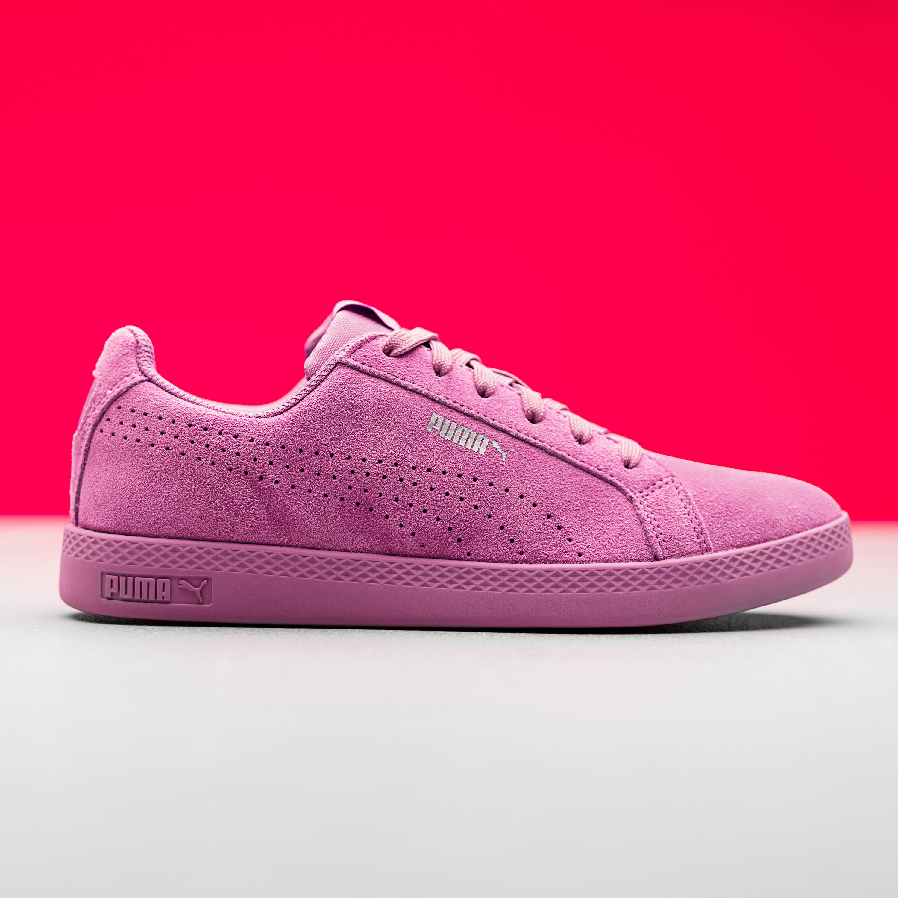 105462dde80e Adding a pop of pink and texture to your wardrobe this Autumn Winter will  brighten up those gloomy days. The Puma Smash Suede trainers are the  perfect ...