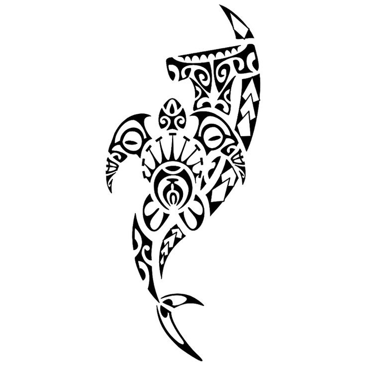 07fcacab21554 Beautiful Tribal Hammerhead Shark With Turtle Tattoo Design ...