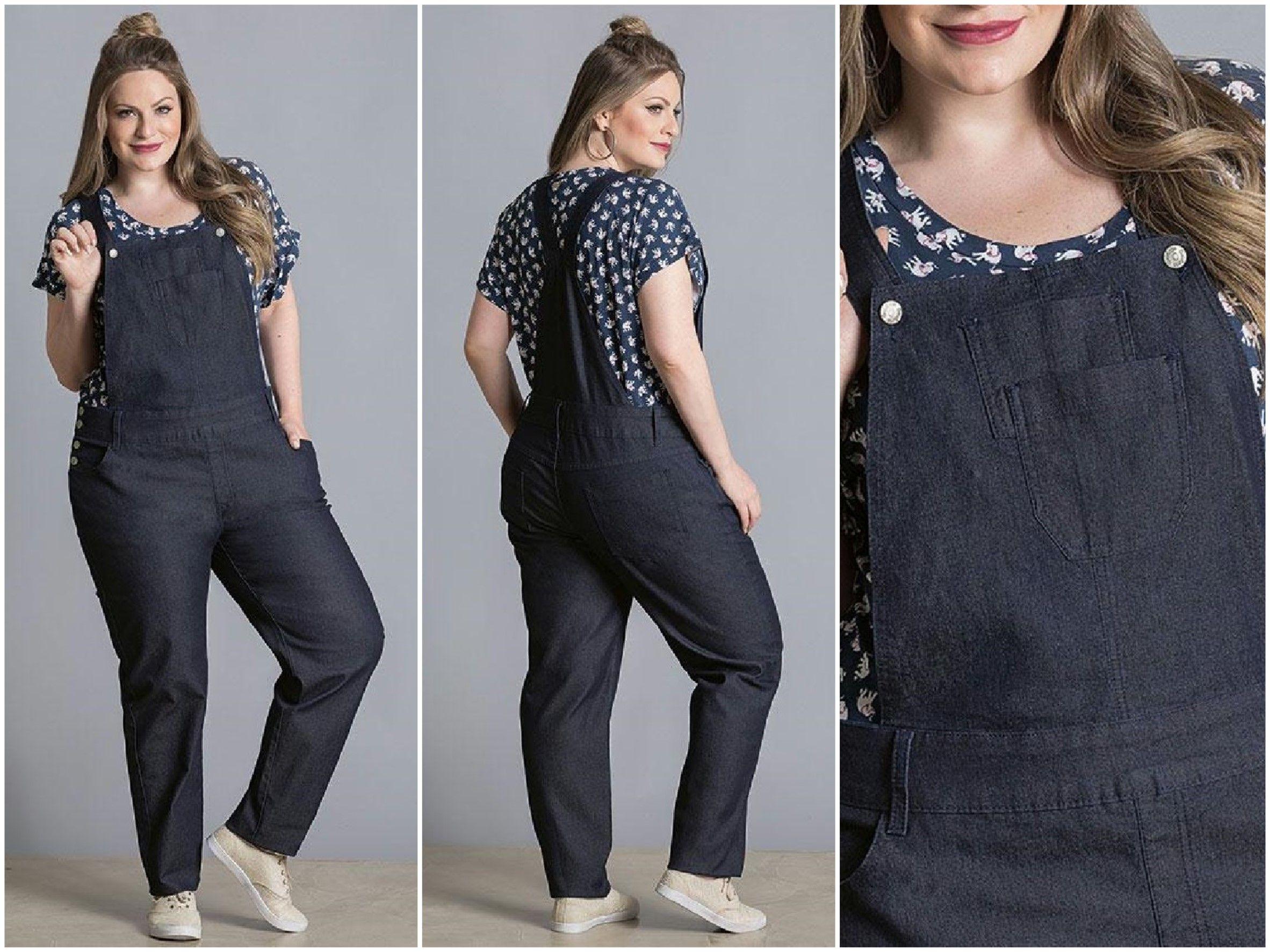 be324f72b LIQUIDAÇÃO ✂ DE OUTONO Jardineira jeans Plus Size. De R  159 por R  119