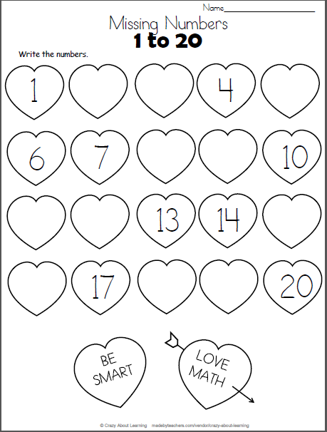 Valentine S Day Missing Numbers To 20 Made By Teachers Math Valentines Valentine Math Worksheet Kindergarten Valentines
