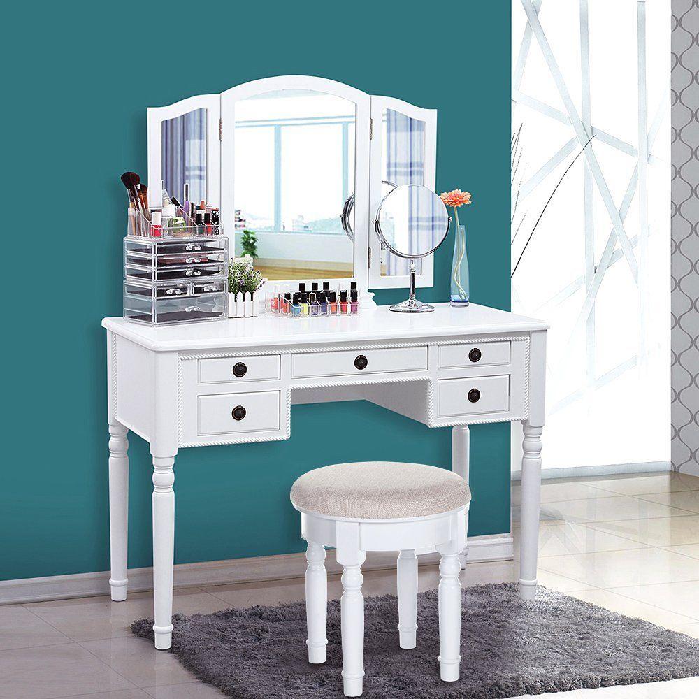 Songmics vanity set tri folding mirror make up dressing table songmics vanity set tri folding mirror make up dressing table cushioned stool 5 drawers geotapseo Choice Image
