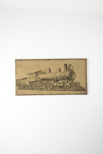 steam engine linen print  $27.00 ~ My husband loves trains!!! This would be great to buy!!!