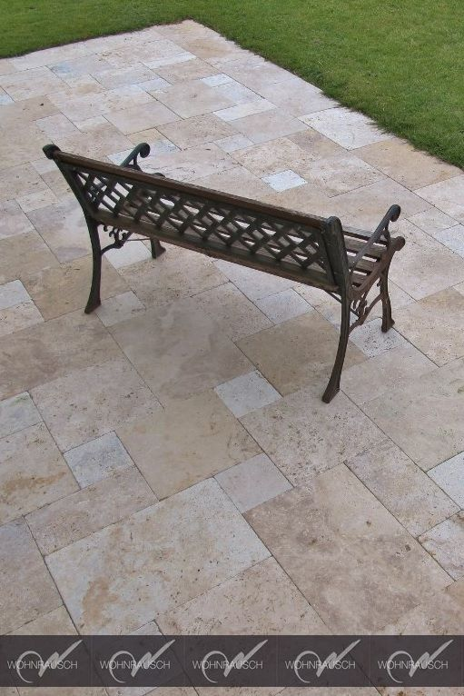 Travertin Terrassenplatten Im Romischen Verband Verlegt Www