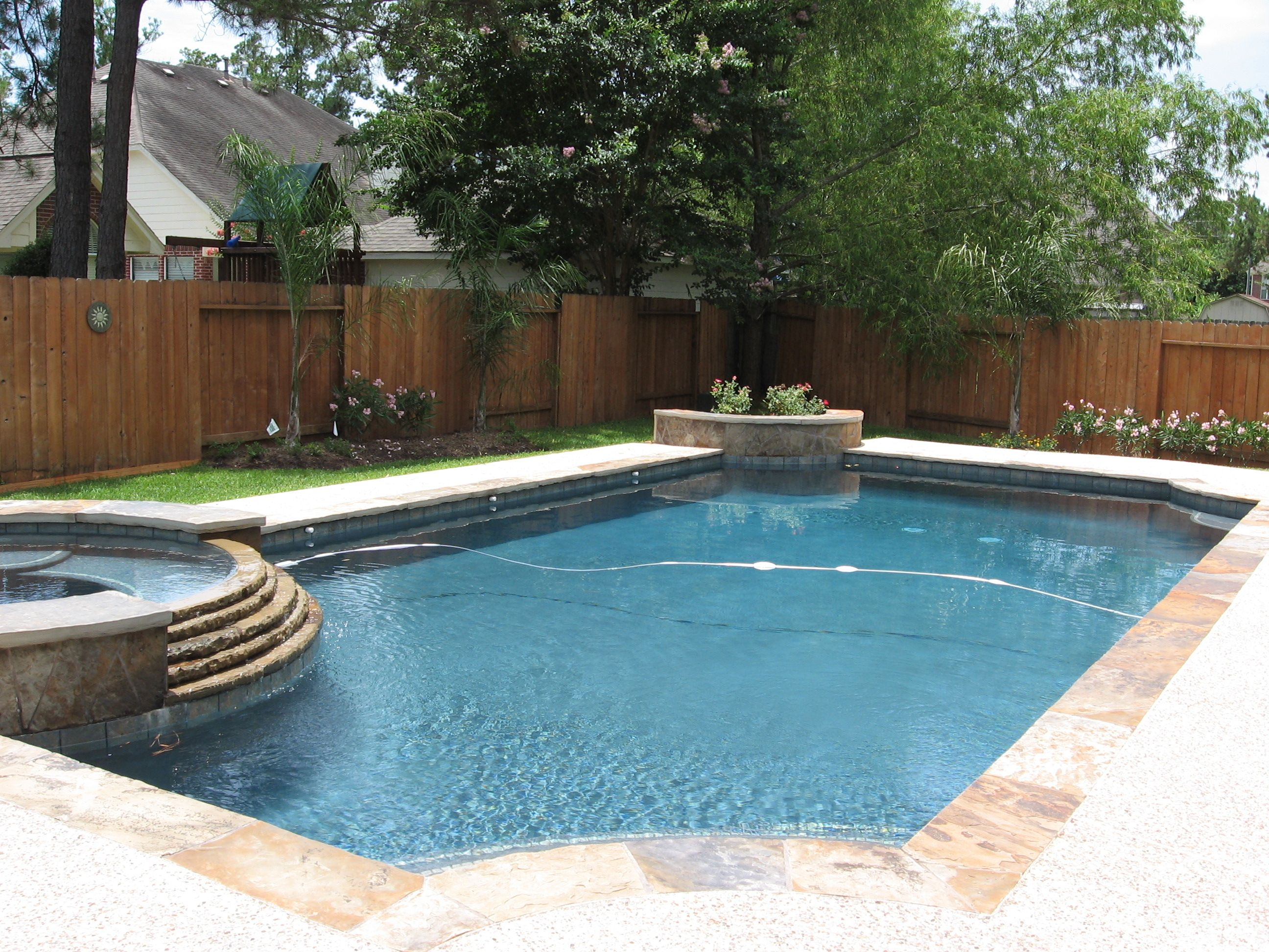 Rectangle pools with spas natural pool designs for Poolside ideas