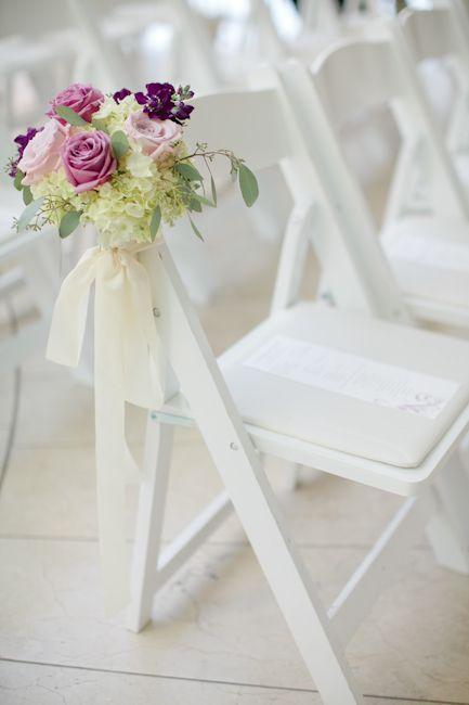 Rose And Hydrangea Wedding Ceremony Aisle Chair Decor