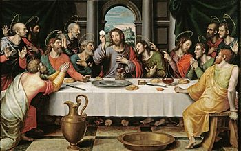 The Eucharist has been a key theme in the depictions of the Last Supper in Christian art,as in this 16th-century Juan de Juanes painting.
