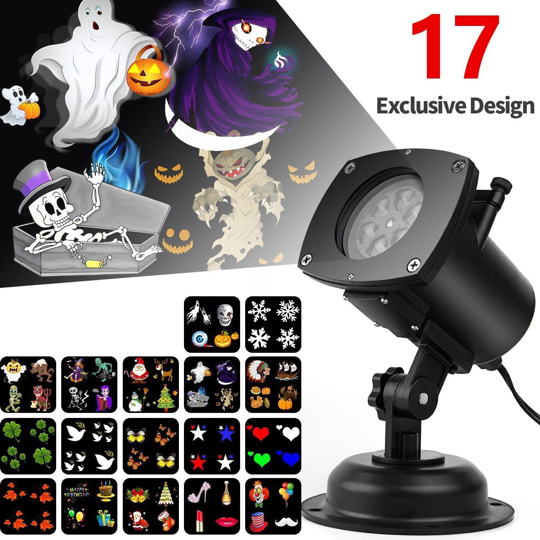 Halloween Projector Light, 17 Interchangeable Slides IP65