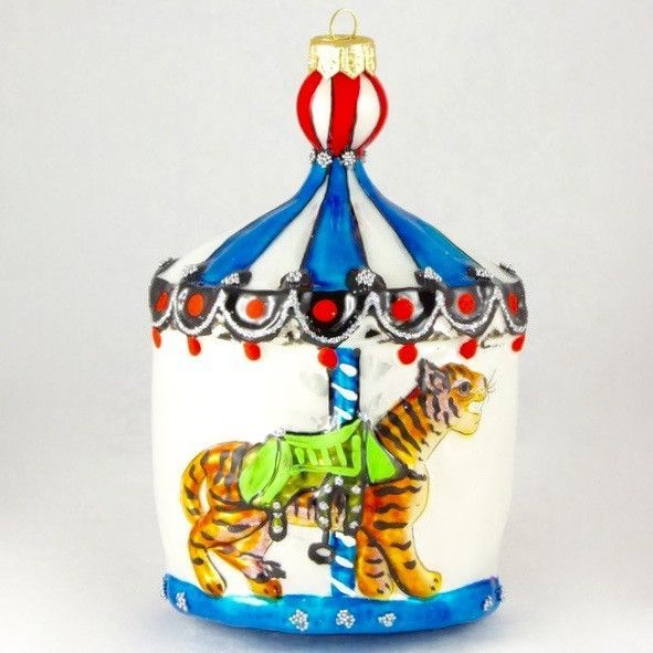 Large Carousel with Tiger Christmas Ornament Carousel, Ornament - christmas carousel decoration