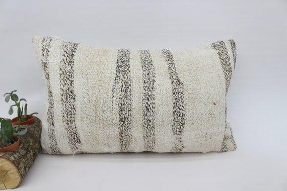 Kilim Pillow 12x20 Pillow Cover, Turkish Organic Pillow, Beige Pillow, Bedding Pillow,Hemp Pillow,Vi