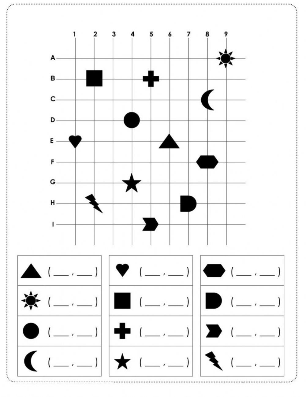 Gdzie To Lezy Interactive Worksheet Coordinate Graphing Visual Perception Activities Flashcards For Kids [ 1298 x 1000 Pixel ]