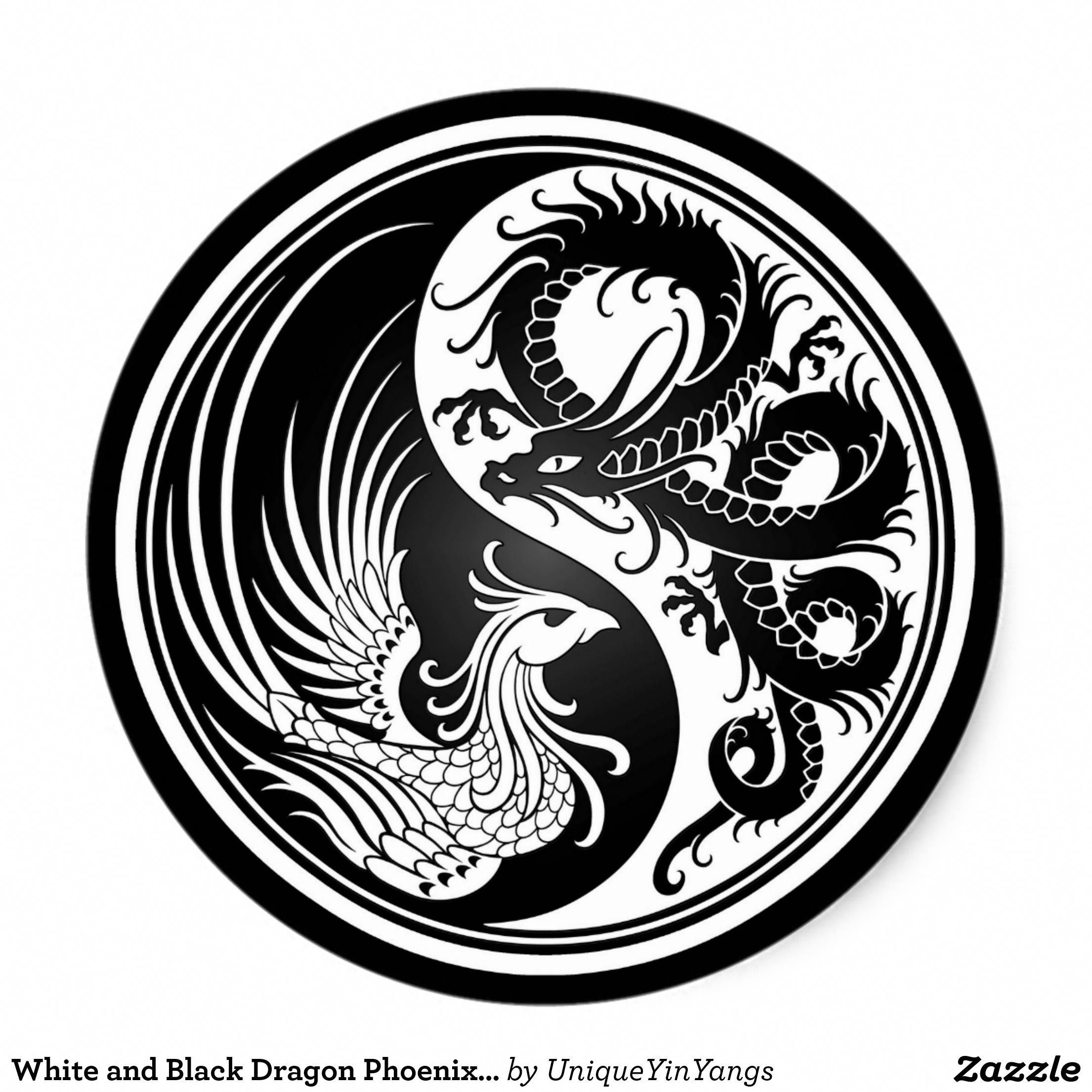 White And Black Dragon Phoenix Yin Yang Round Sticker Smalldragontattoos Seni Kreatif Orang Cina