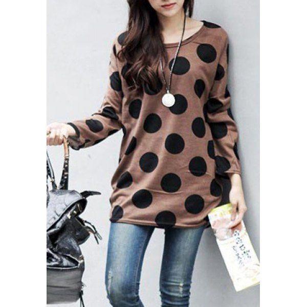 Casual Scoop Collar Polka Dot Print Loose Long Sleeve T-Shirt For ...