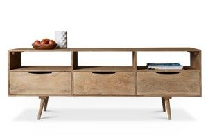 Swoon Editions Media unit, mid century style in grey wash - £349