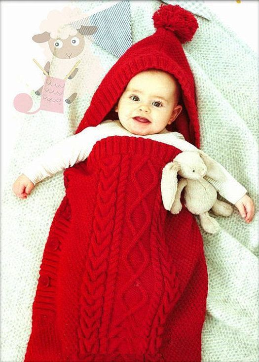 PDF Digital Baby Knitting Pattern Cabled Cocoon Bunting or Sleeping ...