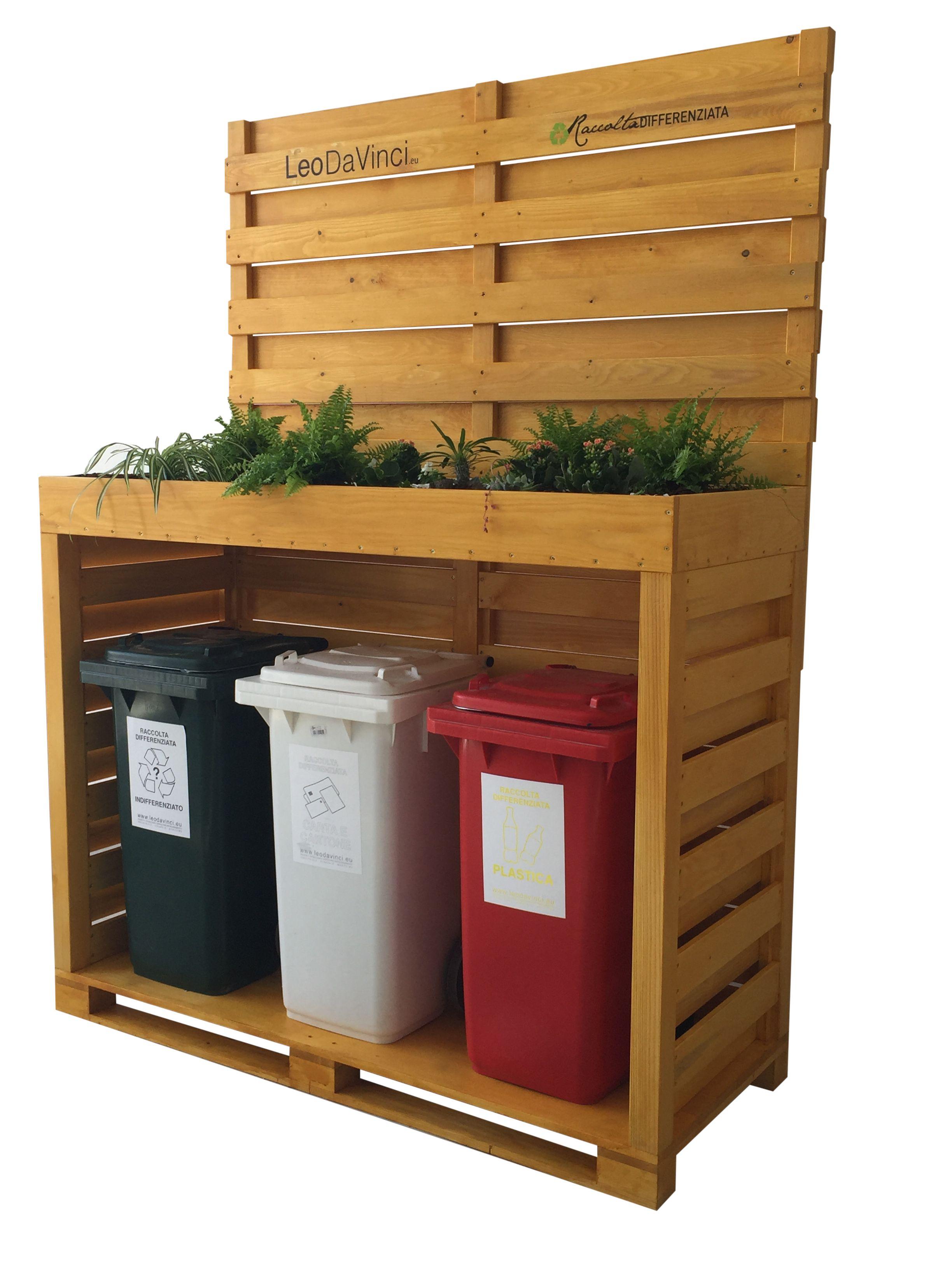 Cestini Raccolta Differenziata Casa copertura in legno per bidoni raccolta differenziata (con