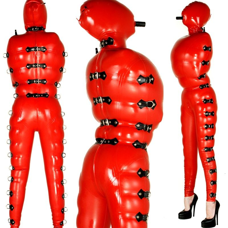 Red Rubber Suite: INFLATABLE COVER-ALL CATSUIT With BLOW-UP HOOD.