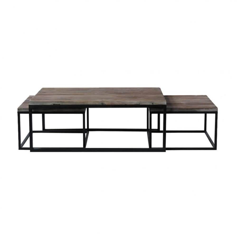 Nest Of 3 Solid Fir And Metal Industrial Coffee Tables In 2020 Industrial Coffee Table Coffee Table Coffee Table Wood