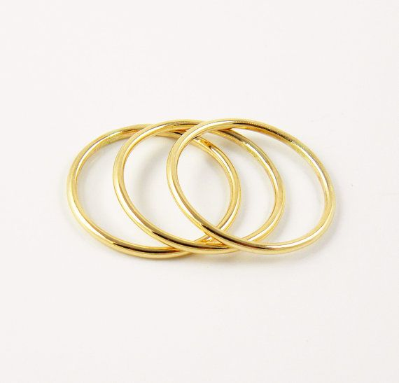 Set of 3 Rings  Thick 1.3mm Yellow 14k Gold Filled by SilverMore
