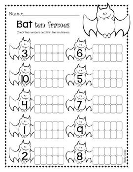 Halloween Activity - Ten Frame | Halloween kinder, Kinder halloween ...