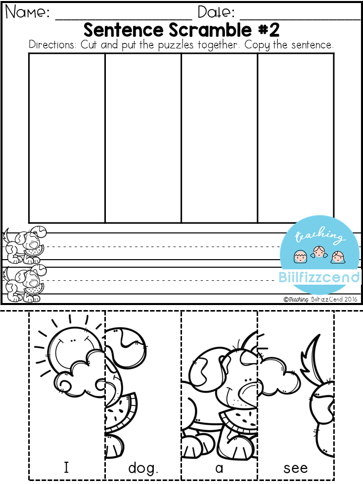 FREE Sentence Building for preschool and kindergarten These ...