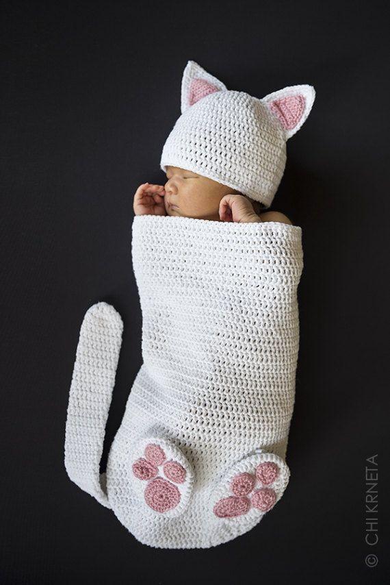 Baby Cat Cocoon Hat & Booties Crochet Pattern | Pinterest - Baby ...