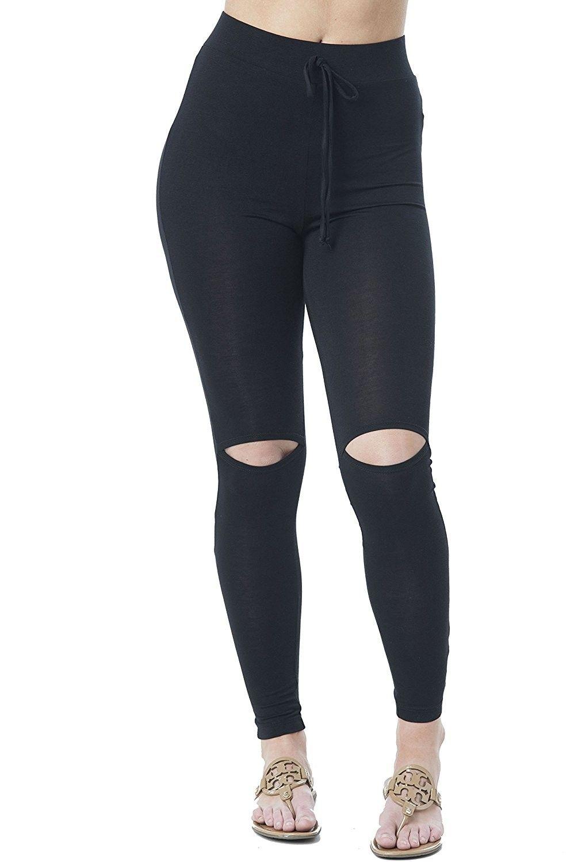 a2b74794d7be2b Drawstring Spandex Stretchy Fitted Long Pants With Knee Slits Leggings -  Black Knee Slit - CZ17YX2T3WW,Women's Clothing, Leggings #women #fashion  #clothing ...