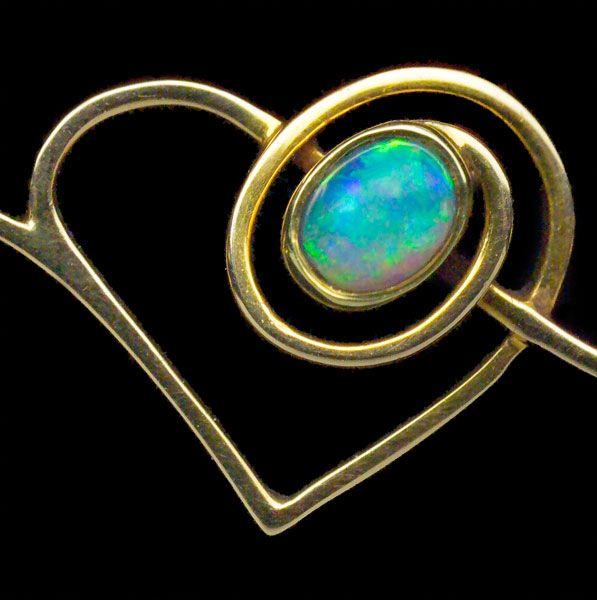 MURRLE BENNETT & CO Art Nouveau Heart Brooch Gold Opal Peridot H: 1.3 cm (0.51 in)  W: 3.2 cm (1.26 in)  Marks: 'MBC' monogram & '15ct' Anglo-German, c.1900