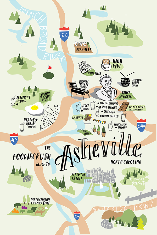 Map Of Asheville North Carolina Food Bloggers' Guide of Where to Eat in Asheville, NC  Map Of Asheville North Carolina