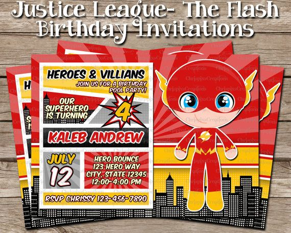 the flash birthday invitation justice league by