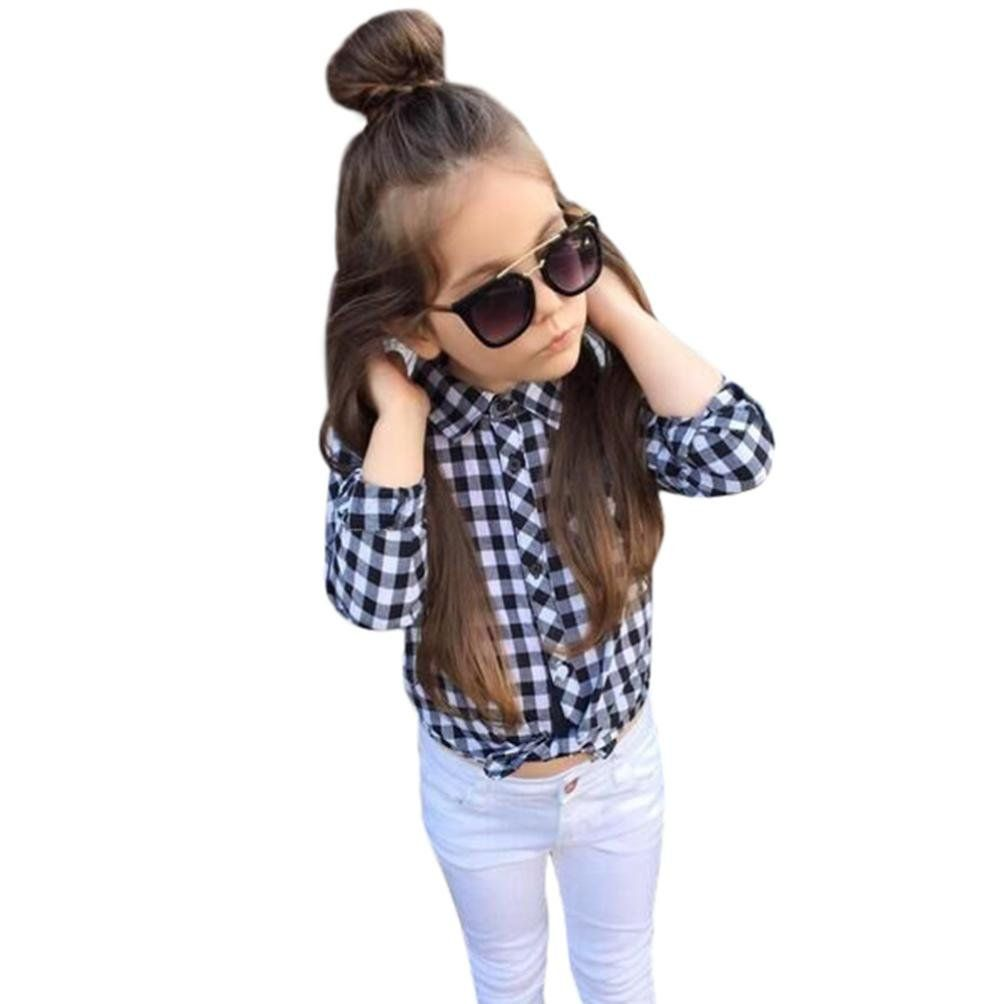 8fab25d67 FEITONG Toddler Kids Baby Girl Plaid Tops+Demin Pants, 2Pcs Outfits Clothes  Set (
