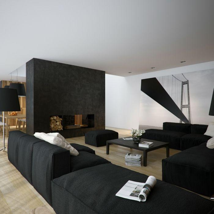 wunderschönes wohnzimmer in schwarz - super möbel Wohnideen - wohnzimmer ideen dunkle mobel