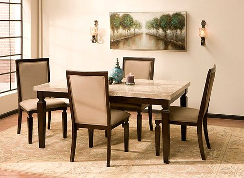 This Rogue 5-piece marble dining set will make a beautiful ...