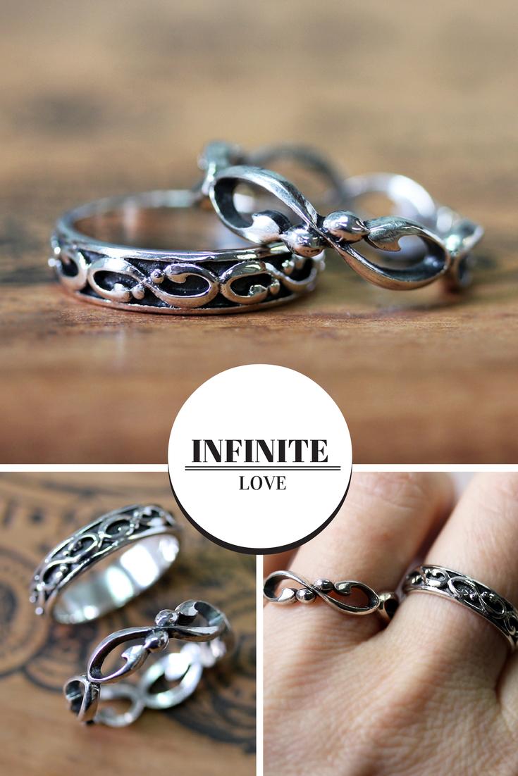 Infinity wedding band set, silver wedding ring set