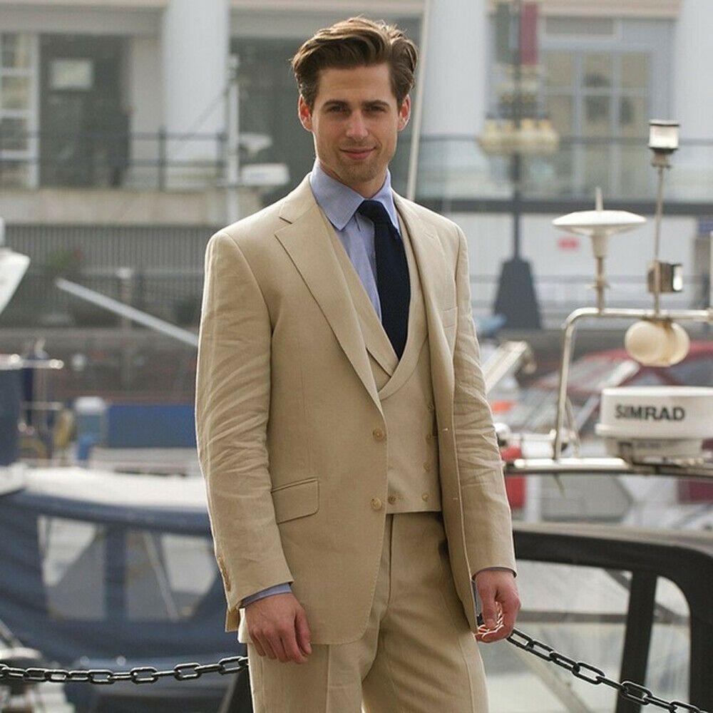 Khaki Tan Men Suit 3 Pieces Groom Wear Wedding Best Man Tuxedos Cotton Linen