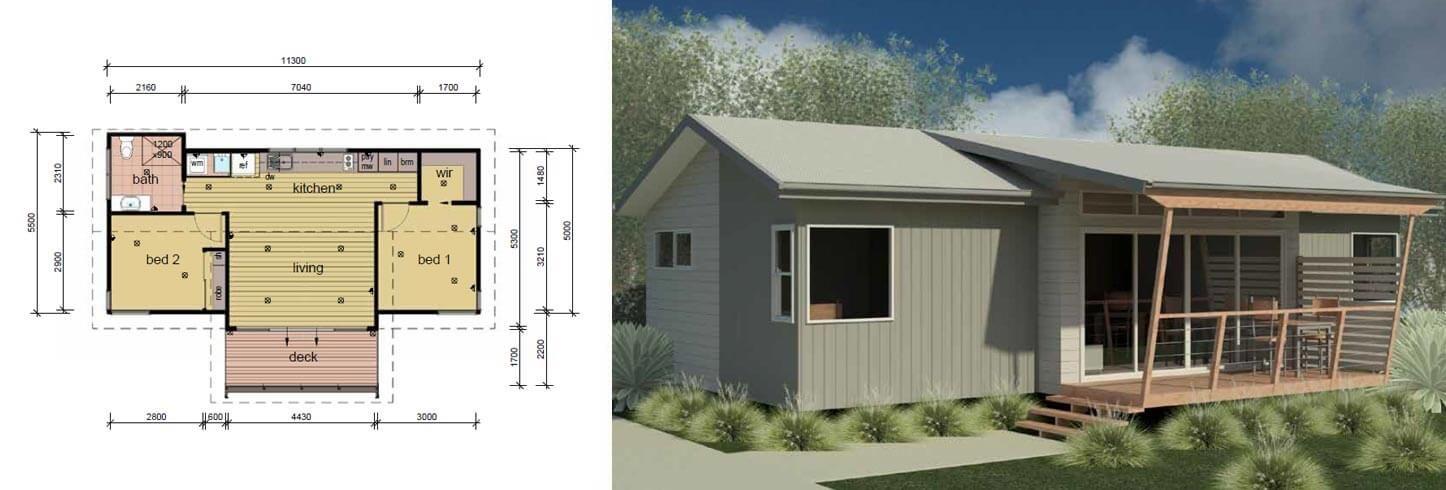 The Olsen 2 Bedroom Cabin Modular Cabins Granny Flat Floor Plans