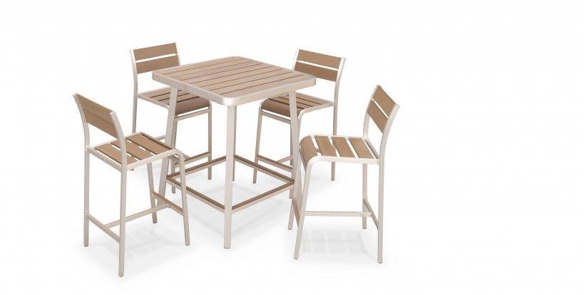 Salon de jardin aluminium brossé polywood 4 places Manosque ...