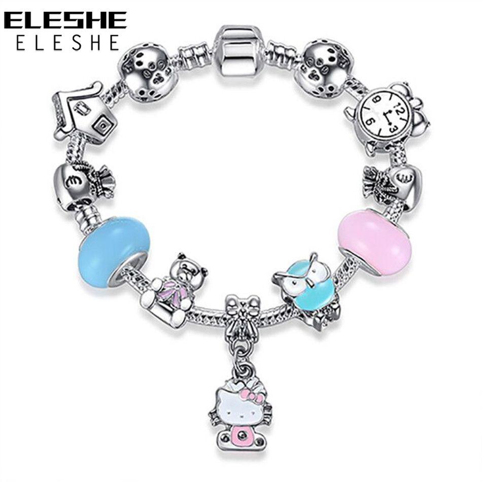 Eleshe cute children cat kitty charms bracelet bangle for kids girl