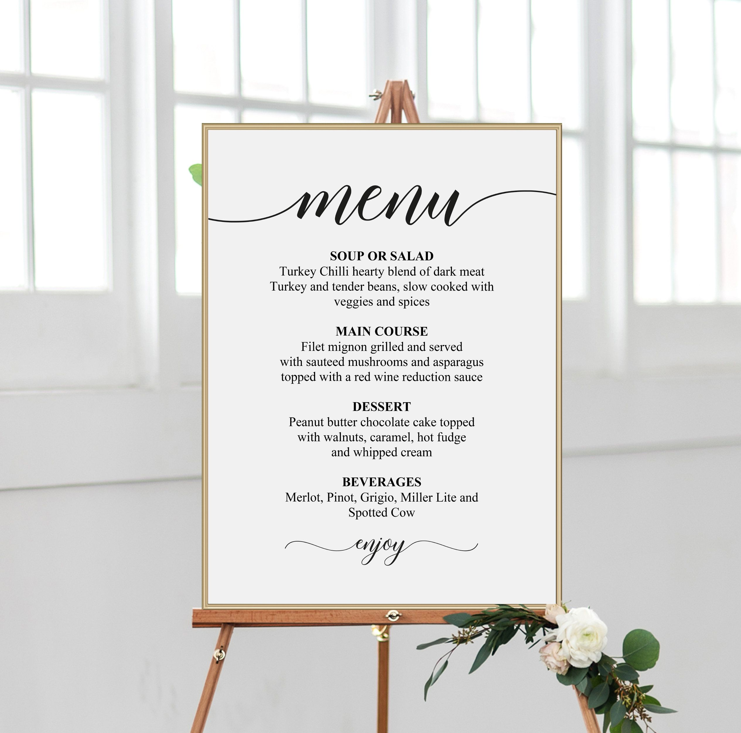 Wedding Menu Sign Printable Wedding Sign Large Wedding Etsy Diy Wedding Menu Printable Wedding Sign Wedding Printables