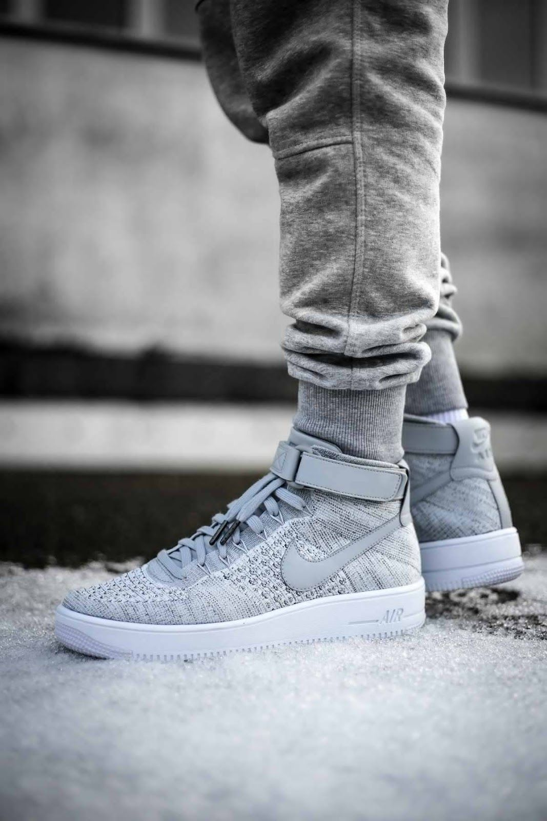 kicksonfire : Nike Air Force 1 Mid Flyknit 'Grey