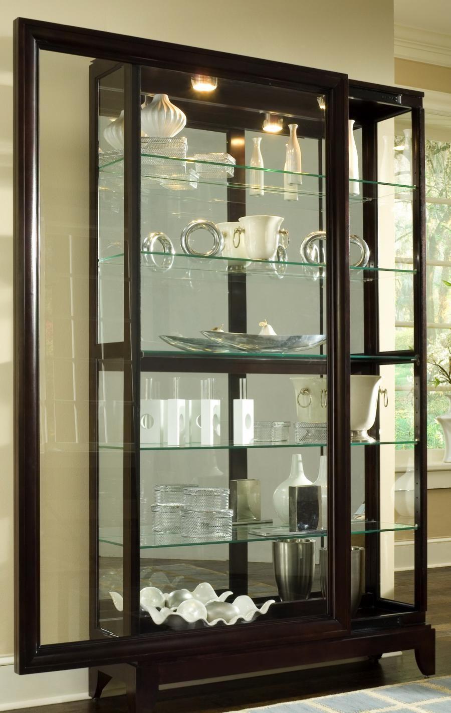 Clockway Pulaski Bradford Deluxe Two Way Sliding Door Curio Cabinet Chocolate Cherry Jpk3060 Furniture Pulaski Furniture Curio Cabinet