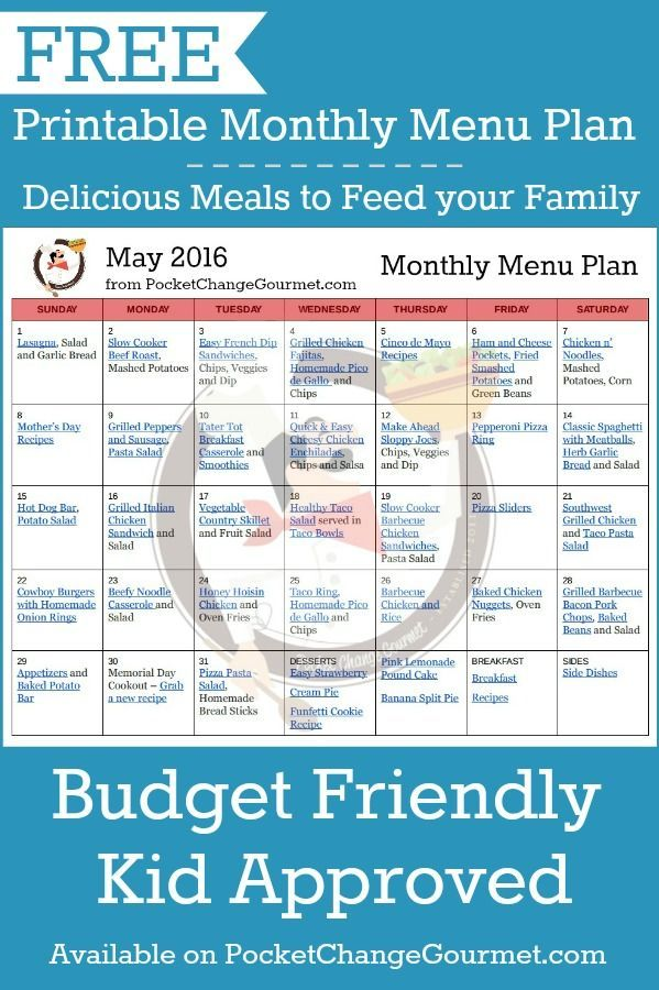 weekly menu plan may 23 pinterest monthly menu menu planning