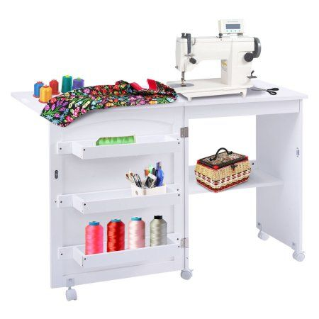 Costway White Folding Swing Craft Table Shelves Storage Cabinet