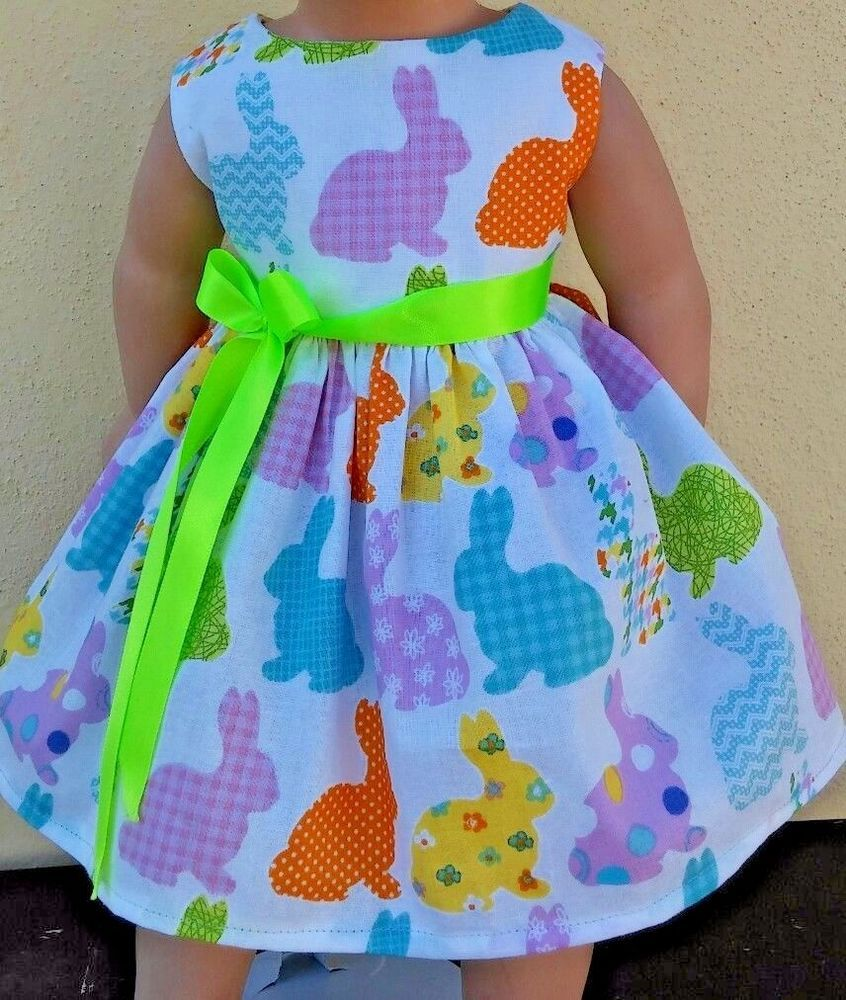 "Doll Clothes-Handmade-American Girl Dolls-Fits18""-Little Bunnies Dress.  