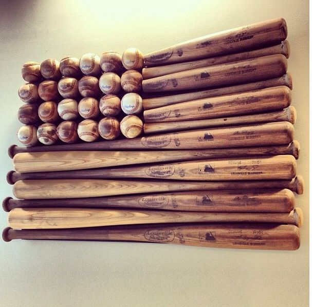 Wooden Bat And Baseball American Flag Sooo Cute For Vintage Sports Nursery
