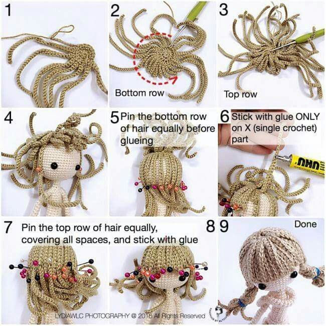 How to Crochet Curly Doll Hair - YouTube | 650x650