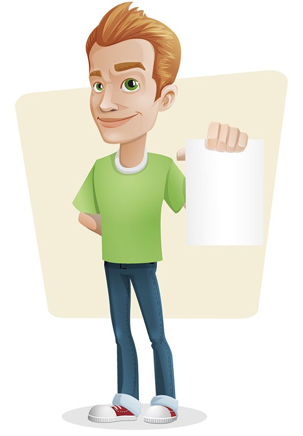Cartoon Characters Guys : Casual guy vector character holding a note in his hand