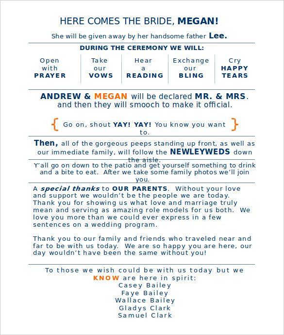 Wedding Program Template 41 Free Word PDF PSD Documents Download