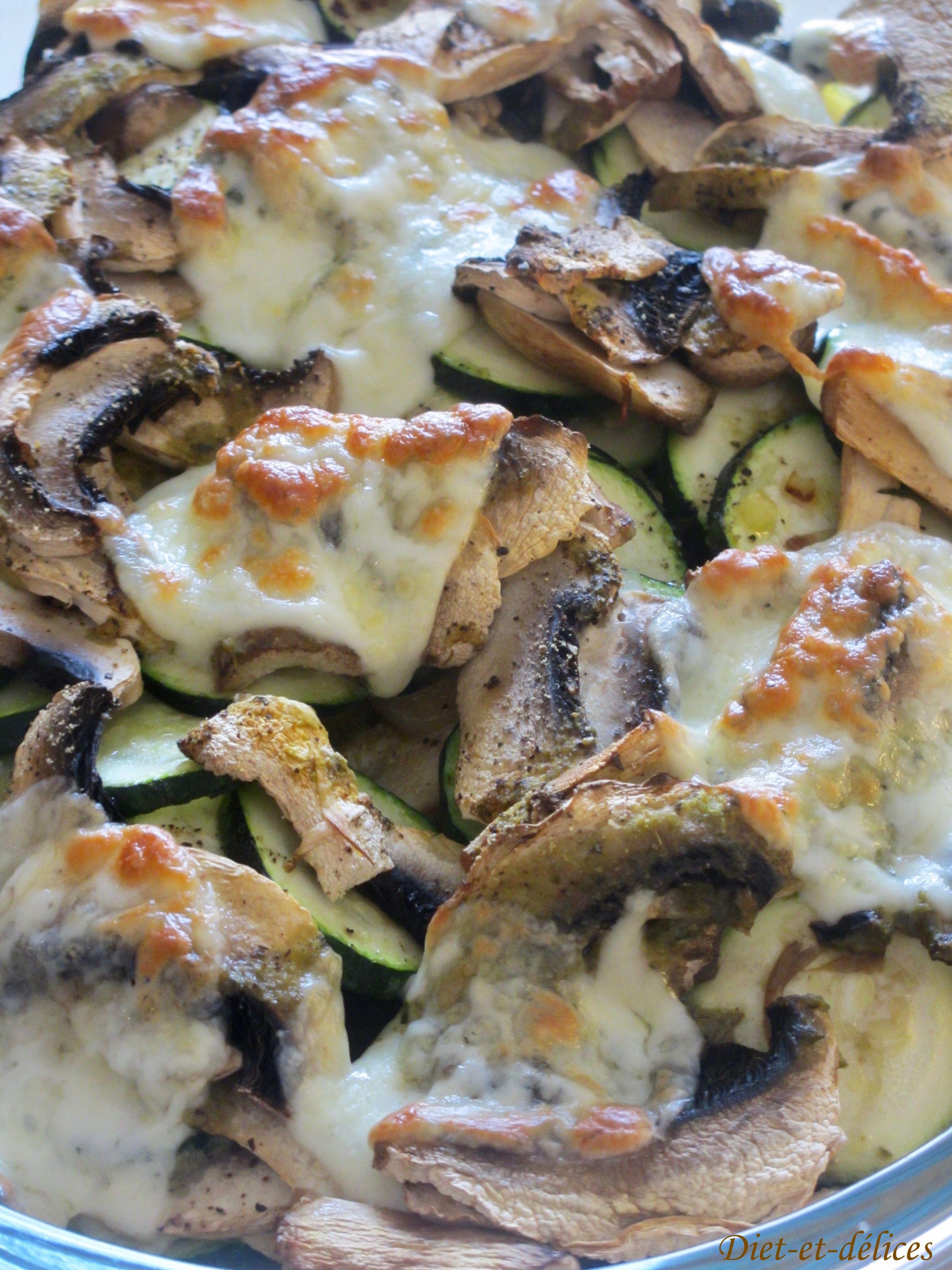 Gratin de champignons frais de Paris et courgettes au pesto   Gratin de champignons, Recette ...