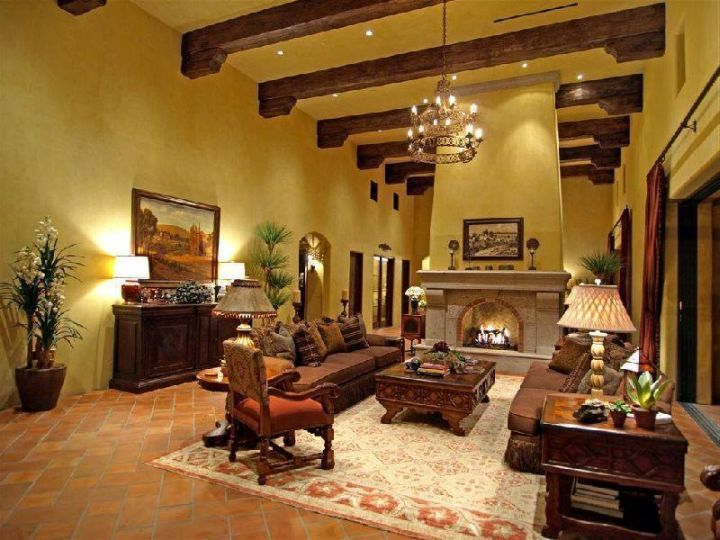 tuscan living room colors with dark wood beams and beige walls ...