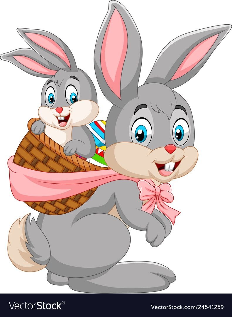 Illustration Of Easter Bunny Carrying Basket Of Baby Rabbit Download A Free Preview Or High Quality Adobe Illustrator Bunny Images Easter Bunny Cartoon Bunny